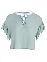 T-shirt Da donna Quotidiano Casual Romantico Primavera Estate,Tinta unita Rotonda Cotone Manica corta
