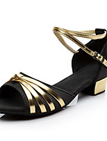 Women's Latin Silk Sneakers Practice Buckle Low Heel Black/Gold Fuchsia Under 1