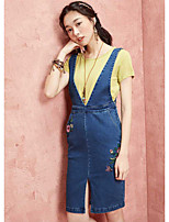 I BELIEVE YOUWomen's Daily Casual Bodycon DressEmbroidery V Neck Above Knee Sleeveless Cotton Polyester Summer High Rise Inelastic Thin