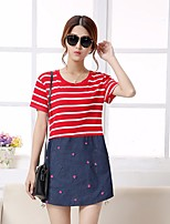 Women's Going out Casual/Daily Simple Cute Two Piece Dress,Striped Round Neck Mini Short Sleeve Others Summer Mid Rise Micro-elastic