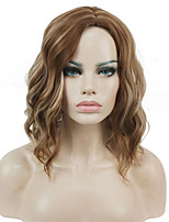 New arrival Short Natural Wave Brown Highlights High Heat Ok Full Synthetic Wig Women's Wigs
