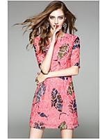 Gaine Robe Femme QuotidienBroderie Col Arrondi Au dessus du genou Manches Courtes Polyester Eté Taille Haute Micro-élastique Fin