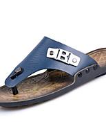 Masculino Chinelos e flip-flops Couro Ecológico Primavera Verão Salto Baixo Azul Castanho Claro Menos de 2,5cm