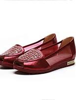 Для женщин Мокасины и Свитер Удобная обувь Тюль Ткань Лето Повседневные Удобная обувь Лак На плоской подошве Золотой ВиноНа плоской