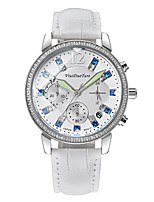 Women's Fashion Watch Quartz Calendar Water Resistant / Water Proof Three Time Zones Leather Band Sparkle White