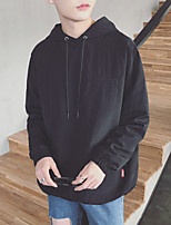Men's Daily Hoodie Solid Hooded Inelastic Cotton Long Sleeve Spring Fall