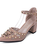 Women's Sandals PU Summer Walking Buckle Block Heel Black Beige Blushing Pink Under 1in