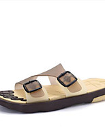 Men's Slippers & Flip-Flops Slingback PVC Summer Casual Flat Heel Brown Flat
