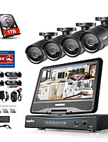 SANNCE® 8CH 4PCS 720P LCD DVR Weatherproof Security System Supported Analog AHD TVI IP Camera 1TB