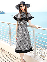 BLUEOXY Women's Party Casual/Daily Grid Summer Blouse Skirt SuitsColor Block U Neck Sleeveless Inelastic