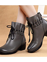 Women's Boots Comfort Cowhide Nappa Leather Spring Casual Comfort Gray Black Flat