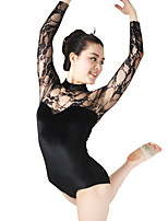 MiDee Ballet Leotards Women's / Children's Performance Spandex / Gymastics / Lace Velvet / High Neck Long Sleeves Leotard / Headpieces