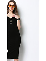MEIDONGTAI Women's Casual/Daily Simple Swing DressSolid Round Neck Midi Sleeveless Acrylic Summer Low Rise Inelastic Medium