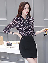 Women's Going out Cute Spring Fall Blouse Skirt Suits,Print Round Neck Long Sleeve Chiffon Acrylic Micro-elastic
