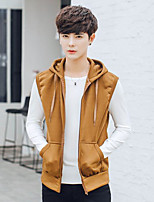 Men's Daily Hoodie Solid Hooded Inelastic Cotton Sleeveless Spring Fall