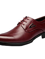 Men's Oxfords Comfort Novelty Leather Fall Winter Wedding Party & Evening Walking Comfort Novelty Lace-up Flat Heel Ruby Yellow Black Flat