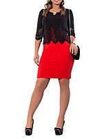 Moulante Ample Robe Femme Travail Soirée / Cocktail Grandes Tailles Vintage,Couleur Pleine Col Arrondi Au dessus du genou Manches ¾Coton