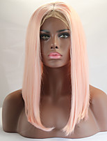 Light Pink Color Bob Straight Lace Front Wig With Baby Hair Heat Resistant Synthetic Hair Wigs For Women