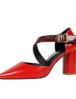 Women's Heels Comfort PU Spring Summer Fall Office & Career Dress Buckle Chunky Heel Khaki Green Red Brown Black 3in-3 3/4in