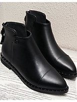Women's Boots Comfort Cowhide Spring Fall Casual Comfort Chunky Heel Black 1in-1 3/4in