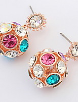 Korean Style Fashion  Adorable  Friendship  Multicolor Ball Rhinestone Lady Party Stud Earrings Movie Jewelry