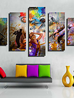 Art Print Modern/Comtemporary,Five Panels Horizontal Print Wall Decor For Home Decoration
