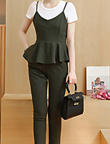 Women's Work Sophisticated Summer T-shirt Pant Suits,Solid Round Neck Short Sleeve