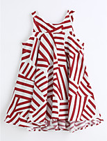Girl's Stripe Dress,Cotton Summer Sleeveless