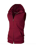 Men's Daily Casual Hoodie Solid Oversized Hooded Micro-elastic Cotton Sleeveless Summer