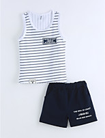 Boys' Striped Sets,Cotton Summer Short Sleeve Clothing Set