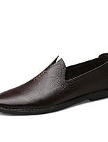 Men's Oxfords Comfort Cowhide Spring Summer Outdoor Office & Career Casual Flat Heel Dark Brown Black White Flat
