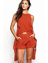 Chemise Pantalon Costumes Femme,Couleur Pleine Décontracté / Quotidien Soirée / Cocktail simple Eté Sans Manches