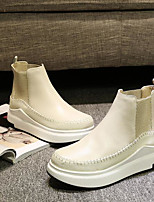 Women's Boots Comfort PU Spring Casual Beige Flat