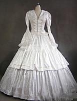 Un Pezzo/Vestiti Gotico Lolita Cosplay Vestiti Lolita Vintage Ad aletta Manica lunga Raso terra Abito Per Altro