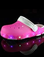 Girls' Sandals PVC Summer Fall LED Flat Heel Navy Blue Blushing Pink Light Blue Flat