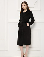 Women's Other Others Winter Blazer,Solid Peaked Lapel Long Sleeve Long Wool Cotton