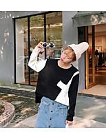 Для женщин Повседневные Простое Обычный Пуловер Контрастных цветов,Круглый вырез Длинный рукав Акрил Весна Осень Средняя Слабоэластичная