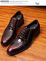Для мужчин Туфли на шнуровке Удобная обувь Тюль Кожа Весна Повседневные Удобная обувь Черный Вино На плоской подошве