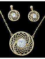 Jewelry Set Rhinestone Adorable Rhinestone Alloy Round 1 Necklace 1 Pair of Earrings For Wedding Party Anniversary Birthday