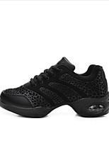 Не персонализируемая Для женщин Танцевальные кроссовки Тюль На плоской подошве На каблуках Тренировочные Белый Черный