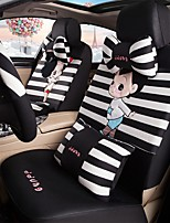 Car Seat Cushion Car Ceat Cushion Cets Of Family Car Cartoon Cute Ice Silk Cloth Material---Black And White Strip-219
