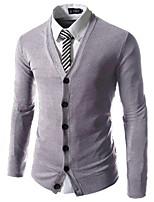 Men's Casual/Daily Simple Regular Cardigan,Solid V Neck Long Sleeve Cotton Fall Medium Micro-elastic