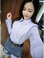 Women's Casual/Daily Sexy Summer Shirt Skirt Suits,Striped Shirt Collar Long Sleeve