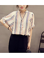 Women's Casual/Daily Simple Shirt,Striped V Neck ½ Length Sleeve Others