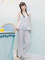 Women's 2 Pcs Pants Sleepwear Suit Sleeveless Sweet Plaid Pajamas Suit