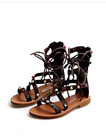Girls' Sandals First Walkers PU Spring Fall Casual First Walkers Magic Tape Flat Heel Brown Black White Flat