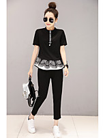 Women's Daily Casual Simple Cute Summer T-shirt Pant Suits,Solid Striped Round Neck Short Sleeve Micro-elastic
