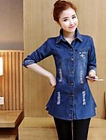 Women's Denim Jacket Shirt Collar Long Sleeve