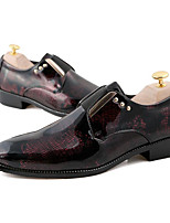 Men's Wedding Shoes Comfort Patent Leather Spring Casual Burgundy Blue Gold Flat