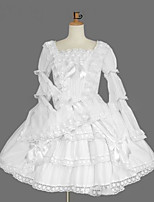 One-Piece/Dress Gothic Lolita Lolita Cosplay Lolita Dress White Vintage Cap Long Sleeve Knee-length Dress For Cotton Blend